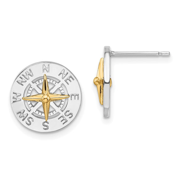 Million Themes 925 Sterling Silver Theme Earrings, Mini Nautical Compass  14K Needle Post Earrings