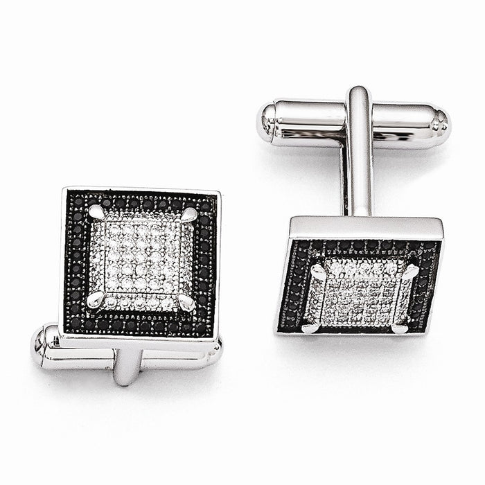 Occasion Gallery, Men's Accessories, 925 Sterling Silver Rhodium-Plated CZ Brilliant Embers Cuff Links