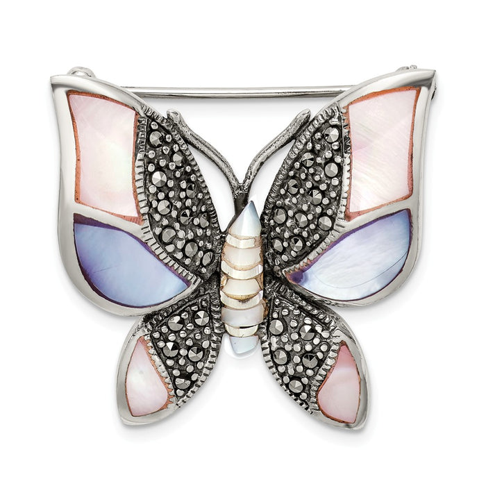 925 Sterling Silver Marcasite Mother of Pearl Butterfly Pin