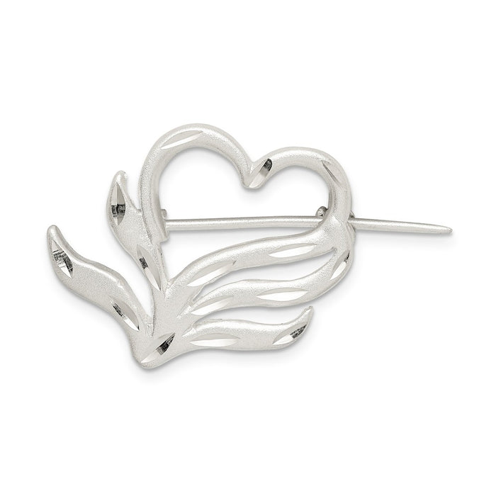 925 Sterling Silver Satin Finish Diamond-Cut Heart Pin