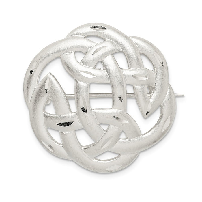 925 Sterling Silver Satin Finish Diamond-Cut Celtic Knot Pin