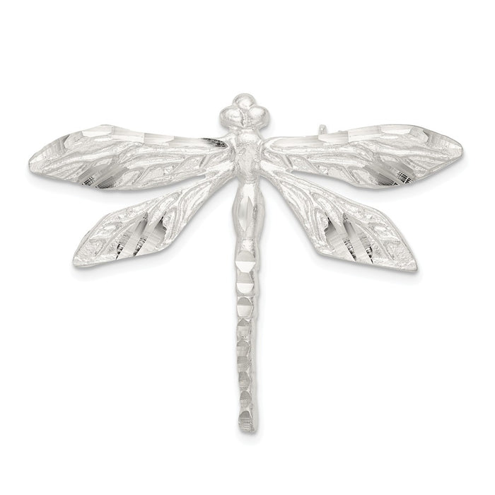 925 Sterling Silver Satin Finish Diamond-Cut Dragon Fly Pin