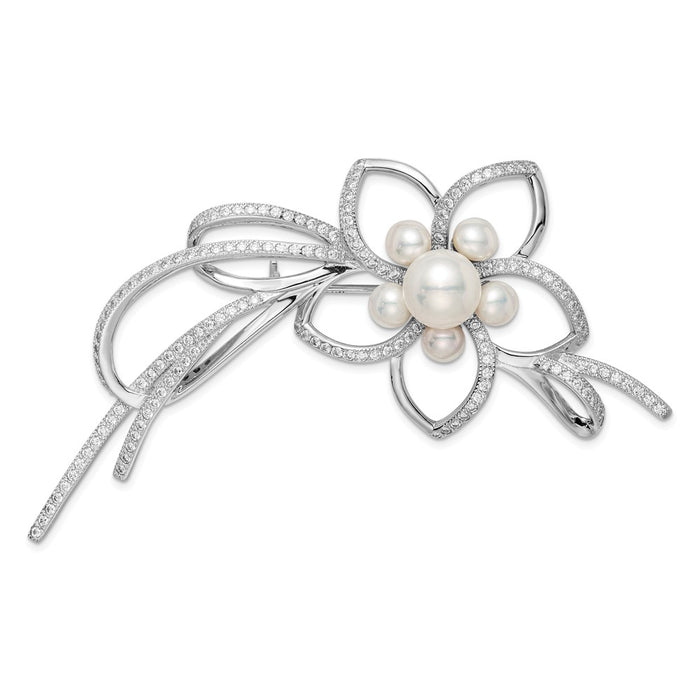 925 Sterling Silver Rhodium-plated 4-7mm White FWC Pearl CZ Flower Pin
