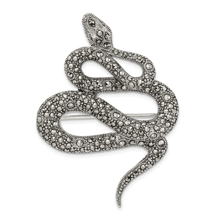 925 Sterling Silver Antiqued Marcasite Snake Pin