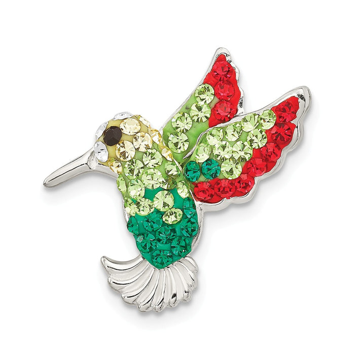 925 Sterling Silver Multi-colored Preciosa Crystal Hummingbird Pin