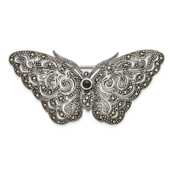 925 Sterling Silver Antiqued Marcasite Butterfly Pin