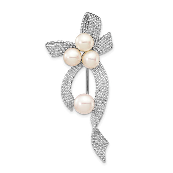 925 Sterling Silver Rhodium Plated 5-6mm White Button FWC Pearl Brooch