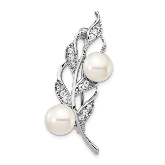 925 Sterling Silver Rhodium Plated 7-8mm White Button FWC Pearl CZ Brooch