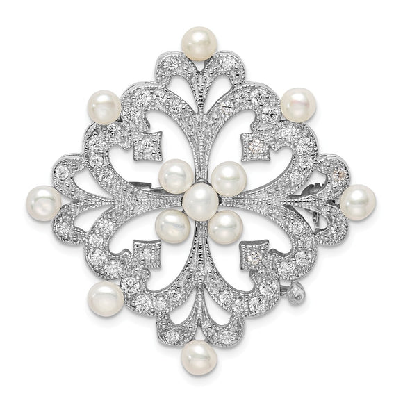 925 Sterling Silver Rhodium-plated FW Cultured Pearl & CZ Pin