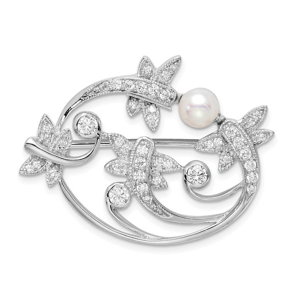 925 Sterling Silver Rhodium-plated Simulated Pearl and CZ Pin