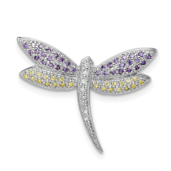925 Sterling Silver Rhodium-plated Purple, Yellow & Clear CZ Dragonfly Pin