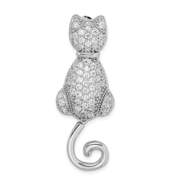 925 Sterling Silver Rhodium-plated CZ Cat Pin
