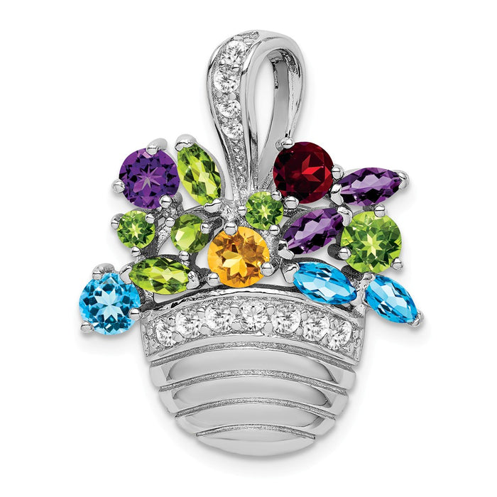 925 Sterling Silver Rhodium-plated Multi-color Gemstone Basket Pendant/ Pin