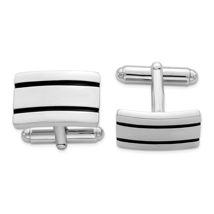 Occasion Gallery, Men's Accessories, 925 Sterling Silver Rhodium-plated Black Enameled Cuff Links
