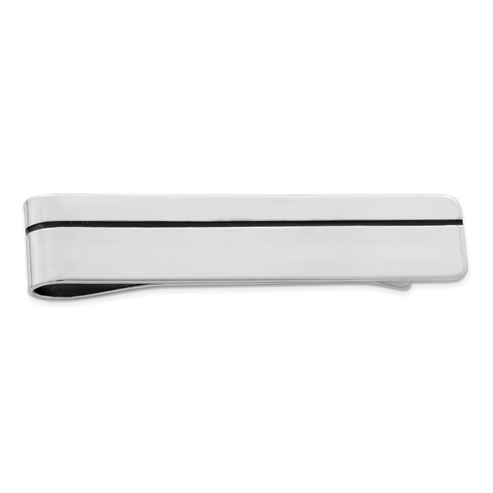 Occasion Gallery, Men's Accessories, 925 Sterling Silver Rhodium-plated Enameled Money Clip