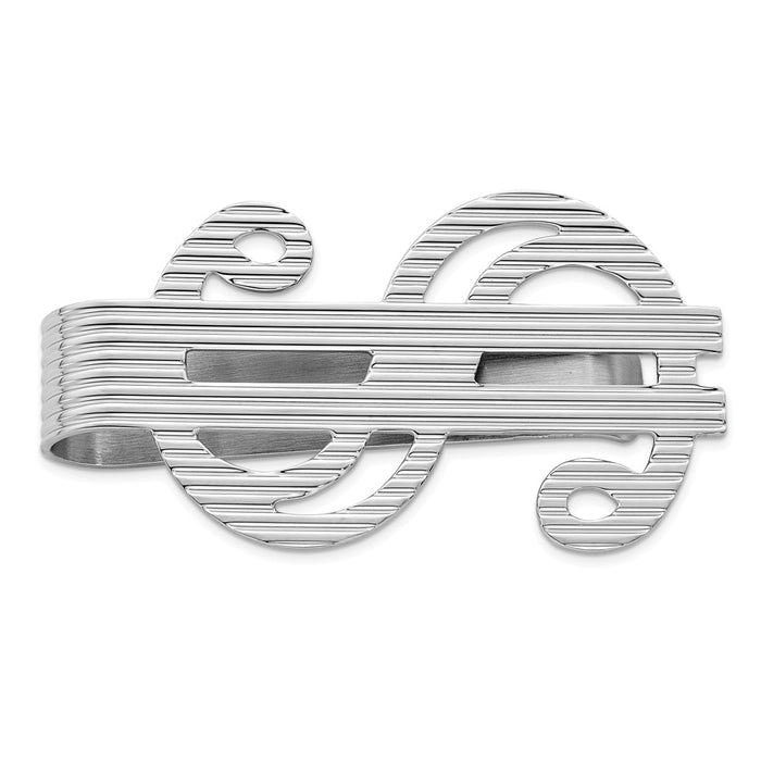Occasion Gallery, Men's Accessories, 925 Sterling Silver Rhodium-plated Dollar Sign Money Clip