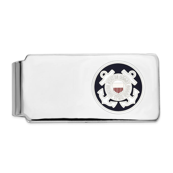 Occasion Gallery, Men's Accessories, 925 Sterling Silver Rhodium-plated U.S. Coast Guard Money Clip