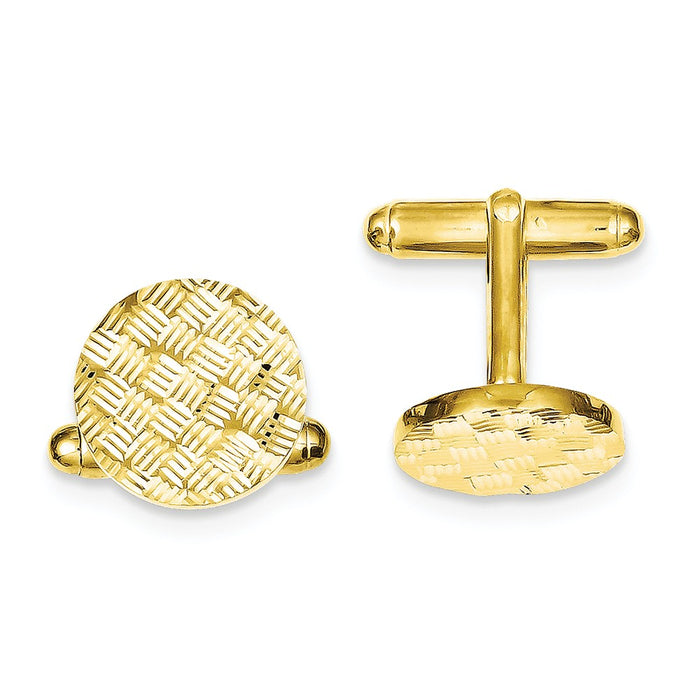 Occasion Gallery, Men's Accessories, 925 Sterling Silver & Vermeil Round Woven Design D/C Cuff Links