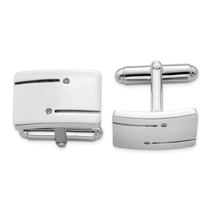 Occasion Gallery, Men's Accessories, 925 Sterling Silver Rhodium-plated Rectangle with CZ Cuff Links