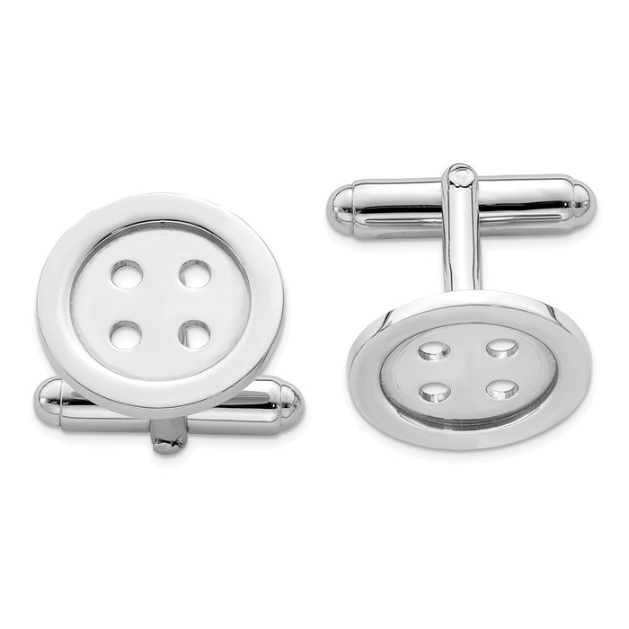 Occasion Gallery, Men's Accessories, 925 Sterling Silver Rhodium-plated Button Cuff Links