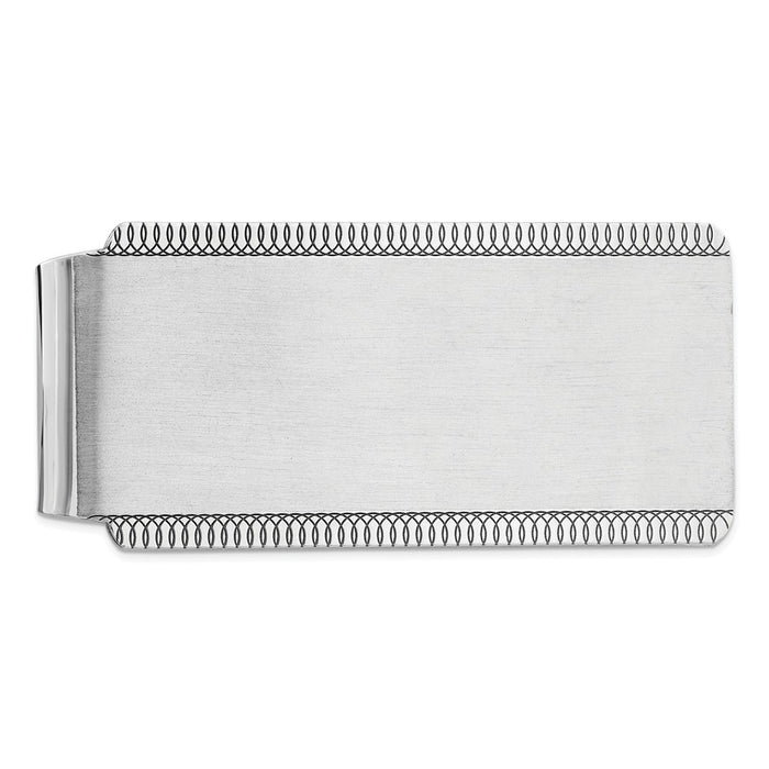 Occasion Gallery, Men's Accessories, 925 Sterling Silver Satin Rhodium-plated Front Money Clip