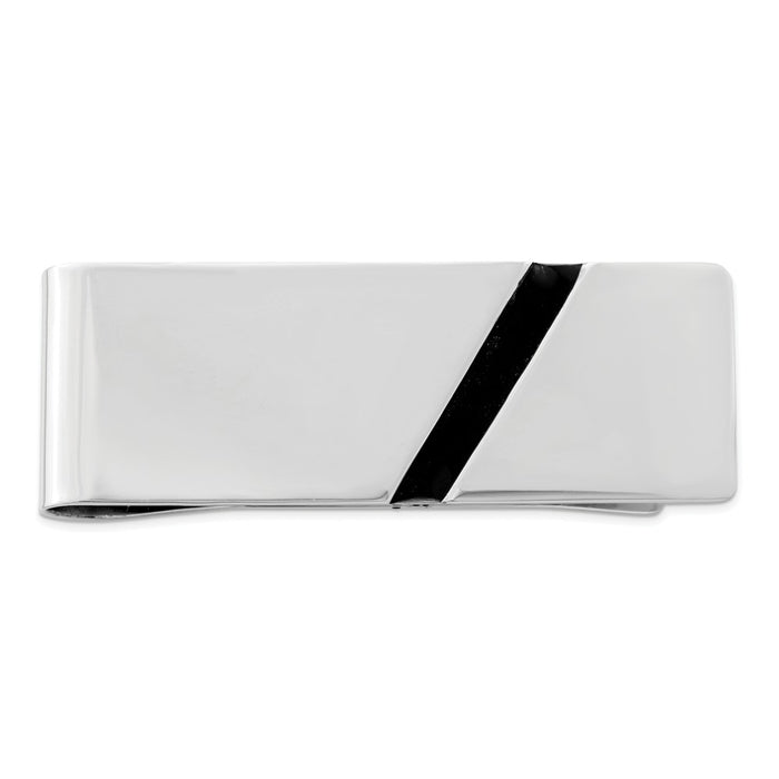 Occasion Gallery, Men's Accessories, 925 Sterling Silver Rhodium-plated Black Enameled Money Clip