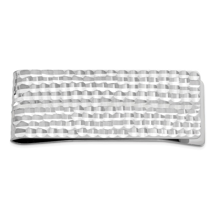 Occasion Gallery, Men's Accessories, 925 Sterling Silver Rhodium-plated Diamond-cut Money Clip