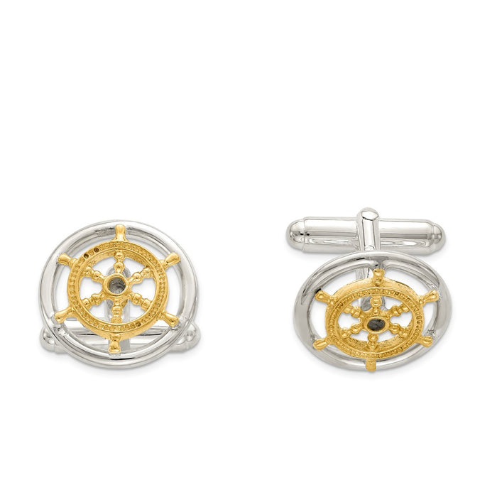 Occasion Gallery, Men's Accessories, 925 Sterling Silver Vermeil Sailor Ship Wheel Cuff Links