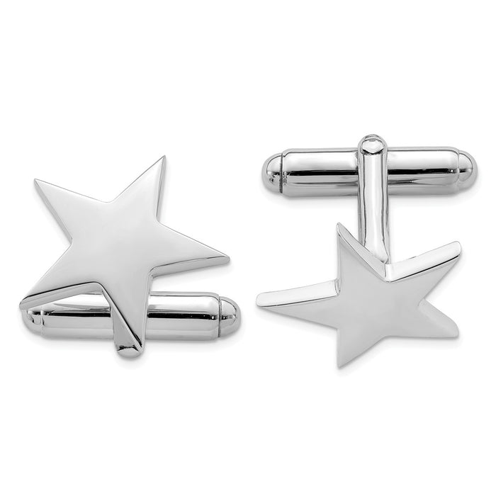 Occasion Gallery, Men's Accessories, 925 Sterling Silver Rhodium-plated Star Cuff Links