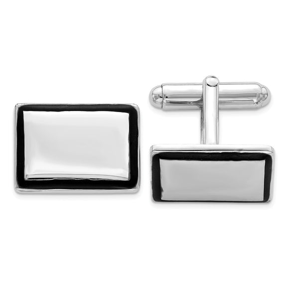Occasion Gallery, Men's Accessories, 925 Sterling Silver Rhodium-plated and Black Enamel Cuff Links