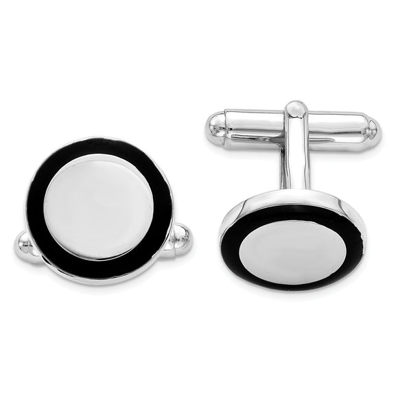 Occasion Gallery, Men's Accessories, 925 Sterling Silver Rhodium-plated and Black Enamel Round Cuff Links