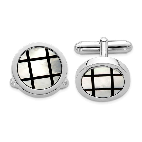 Occasion Gallery, Men's Accessories, 925 Sterling Silver Rhodium-plated with MOP & Black Enamel Cuff Links