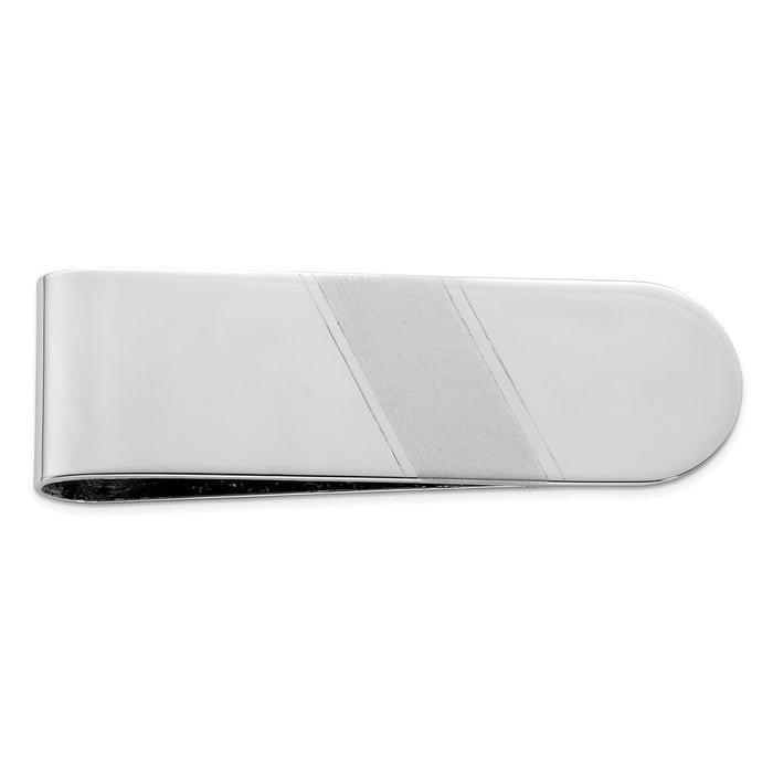 Occasion Gallery, Men's Accessories, 925 Sterling Silver Rhodium Plated Brushed & Polished Money Clip