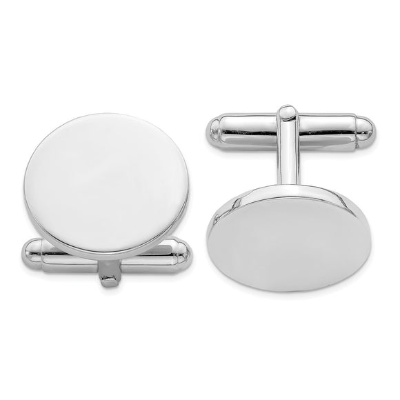 Occasion Gallery, Men's Accessories, 925 Sterling Silver Rhodium Plated Round Cuff Links