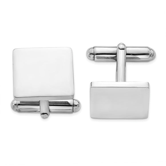 Occasion Gallery, Men's Accessories, 925 Sterling Silver Rhodium Plated Square Cuff Links