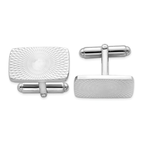Occasion Gallery, Men's Accessories, 925 Sterling Silver Rhodium Plated Textured Swirl Cuff Links