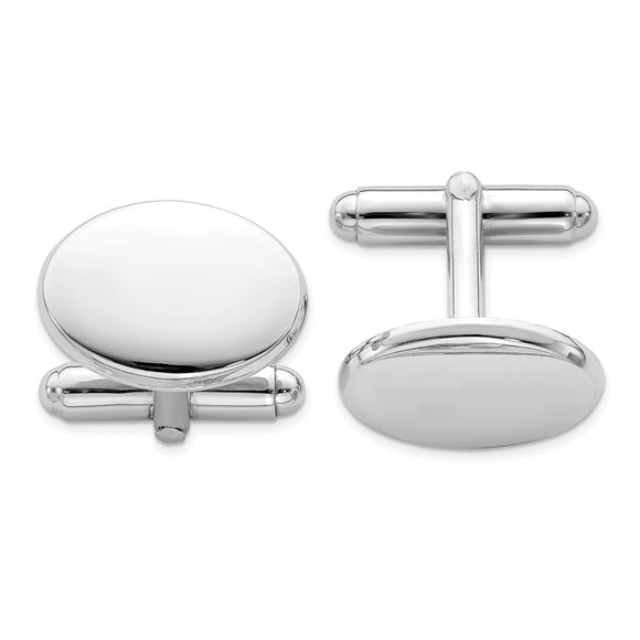 Occasion Gallery, Men's Accessories, 925 Sterling Silver Rhodium Plated Oval Cuff Links