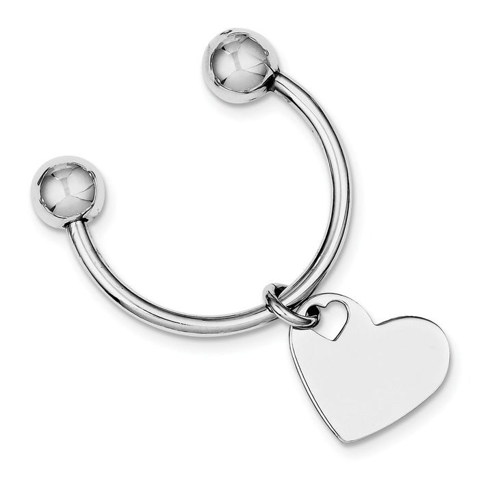 Occasion Gallery 925 Sterling Silver Engravable Heart Shape Rhodium Plated Key Chain