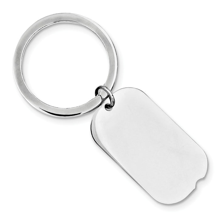 Occasion Gallery 925 Sterling Silver Dog Tag Engravable Rhodium-plated Key Chain