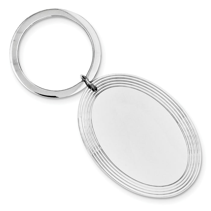 Occasion Gallery 925 Sterling Silver Engravable Oval Disc Rhodium-plated Key Chain