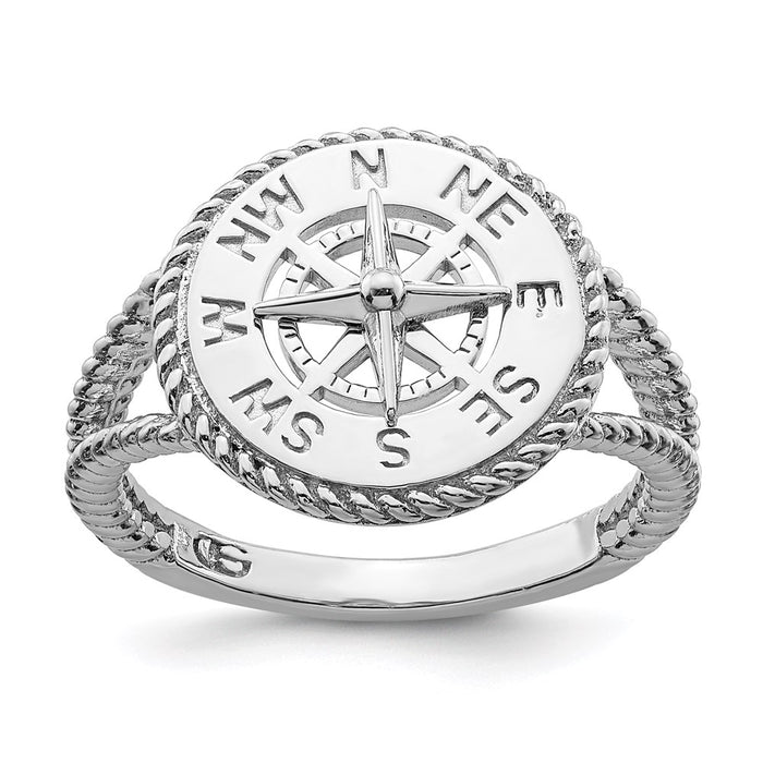 Million Charms 925 Sterling Silver Nautical Compass  Rope Trim Ring with Split Shank (Size 7)