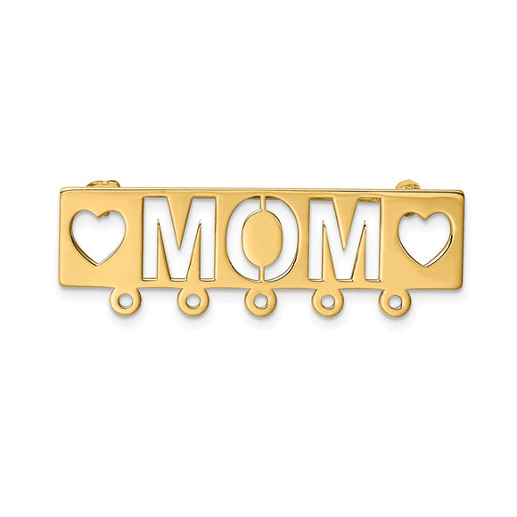 14k Yellow Gold Polished Mom Pin