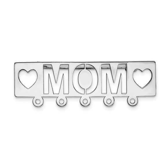 14k White Gold Mom Pin
