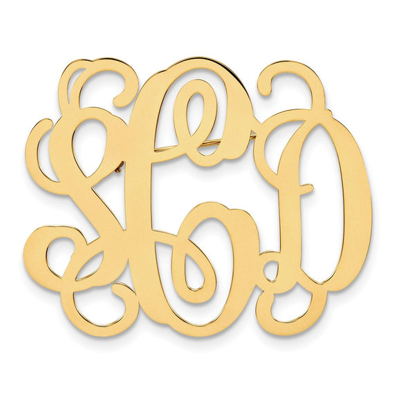 14k Yellow Gold .013 Gauge Monogram Pin