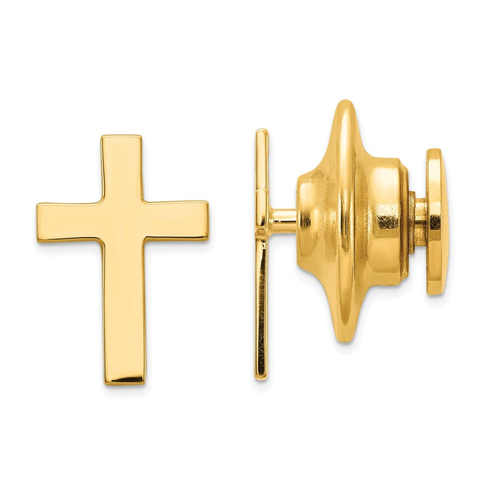 Occasion Gallery, Men's Accessories, 14k Yellow Gold Polished Cross Tie Tac
