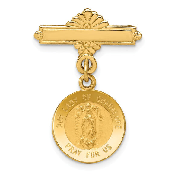 14k Yellow Gold Our Lady of Guadalupe Medal Pin