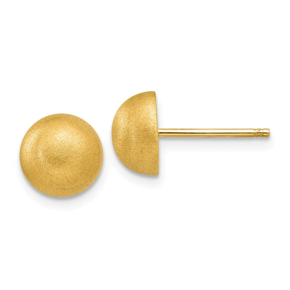 Million Charms 14k Yellow Gold Hollow Satin 8.00mm Half Ball Post Earrings, 8mm x 8mm