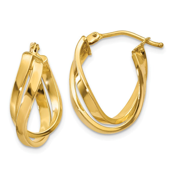 Million Charms 14k Yellow Gold Twisted Hoop Earrings, 21mm x 8mm