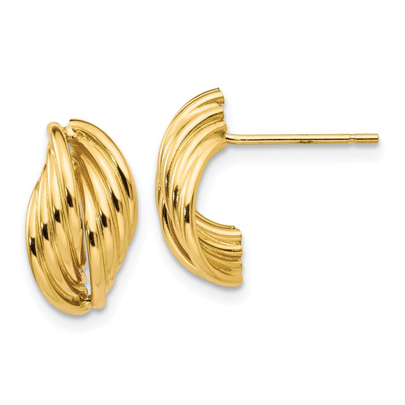 Million Charms 14k Yellow Gold Polished Fancy Post Earrings, 14mm x 8mm