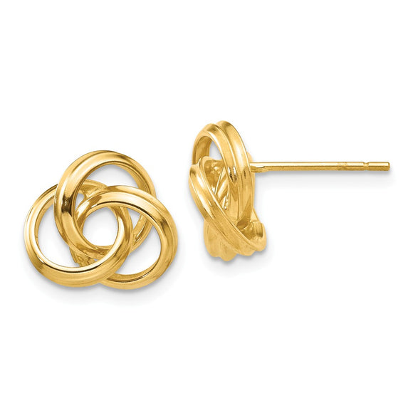 Million Charms 14k Yellow Gold Polished Love Knot Post Earrings, 10mm x 10mm